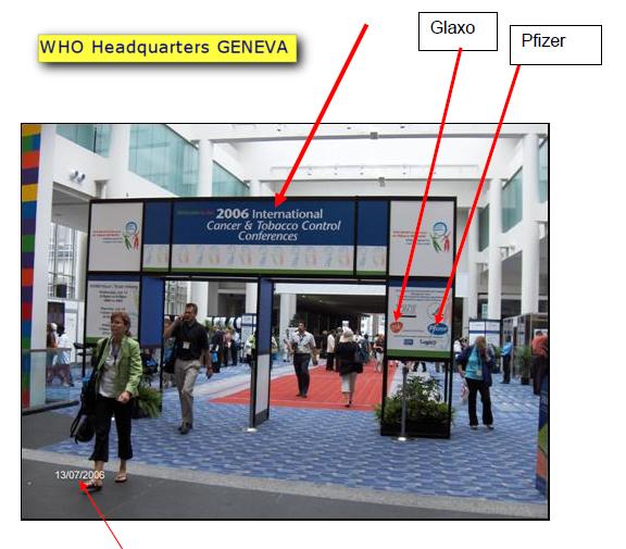 Pfizer und Glaxo als offizielle Sponsoren an den WHO Tobacco Control-Konferenzen 2006.